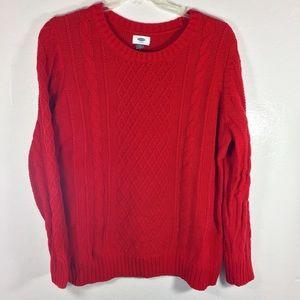Old navy red cable knit sweater womens 2XL